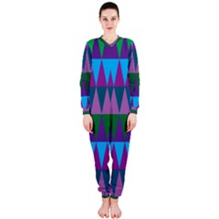 Blue Greens Aqua Purple Green Blue Plums Long Triangle Geometric Tribal Onepiece Jumpsuit (ladies)