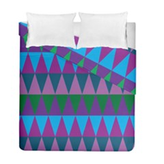 Blue Greens Aqua Purple Green Blue Plums Long Triangle Geometric Tribal Duvet Cover Double Side (full/ Double Size)