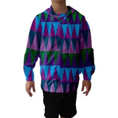 Blue Greens Aqua Purple Green Blue Plums Long Triangle Geometric Tribal Hooded Wind Breaker (kids)