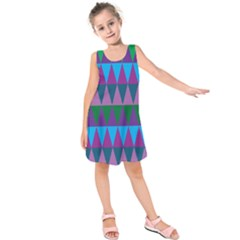 Blue Greens Aqua Purple Green Blue Plums Long Triangle Geometric Tribal Kids  Sleeveless Dress