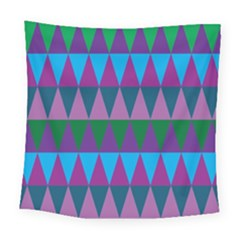 Blue Greens Aqua Purple Green Blue Plums Long Triangle Geometric Tribal Square Tapestry (large)