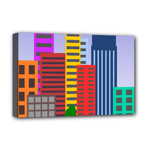 City Skyscraper Buildings Color Car Orange Yellow Blue Green Brown Deluxe Canvas 18  X 12