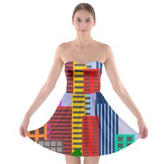 City Skyscraper Buildings Color Car Orange Yellow Blue Green Brown Strapless Bra Top Dress