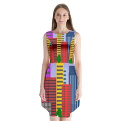 City Skyscraper Buildings Color Car Orange Yellow Blue Green Brown Sleeveless Chiffon Dress