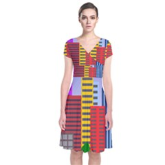 City Skyscraper Buildings Color Car Orange Yellow Blue Green Brown Short Sleeve Front Wrap Dress