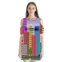 City Skyscraper Buildings Color Car Orange Yellow Blue Green Brown Shoulder Cutout Velvet  One Piece
