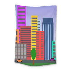 City Skyscraper Buildings Color Car Orange Yellow Blue Green Brown Small Tapestry