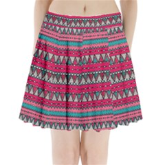 Aztec Geometric Red Chevron Wove Fabric Pleated Mini Skirt