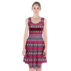 Aztec Geometric Red Chevron Wove Fabric Racerback Midi Dress