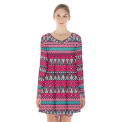 Aztec Geometric Red Chevron Wove Fabric Long Sleeve Velvet V Neck Dress