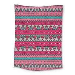 Aztec Geometric Red Chevron Wove Fabric Medium Tapestry
