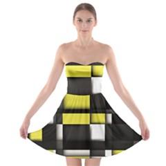 Color Geometry Shapes Plaid Yellow Black Strapless Bra Top Dress