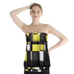 Color Geometry Shapes Plaid Yellow Black Strapless Top