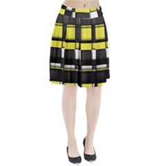 Color Geometry Shapes Plaid Yellow Black Pleated Skirt