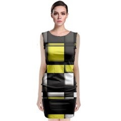 Color Geometry Shapes Plaid Yellow Black Sleeveless Velvet Midi Dress