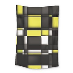 Color Geometry Shapes Plaid Yellow Black Small Tapestry
