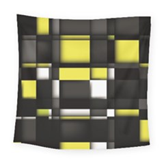 Color Geometry Shapes Plaid Yellow Black Square Tapestry (large)