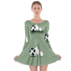 Cow Chicken Eggs Breeding Mixing Dominance Grey Animals Long Sleeve Skater Dress