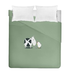 Cow Chicken Eggs Breeding Mixing Dominance Grey Animals Duvet Cover Double Side (full/ Double Size)
