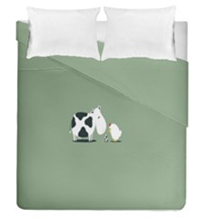 Cow Chicken Eggs Breeding Mixing Dominance Grey Animals Duvet Cover Double Side (queen Size)