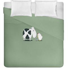 Cow Chicken Eggs Breeding Mixing Dominance Grey Animals Duvet Cover Double Side (king Size)