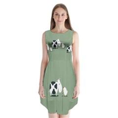 Cow Chicken Eggs Breeding Mixing Dominance Grey Animals Sleeveless Chiffon Dress