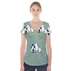 Cow Chicken Eggs Breeding Mixing Dominance Grey Animals Short Sleeve Front Detail Top