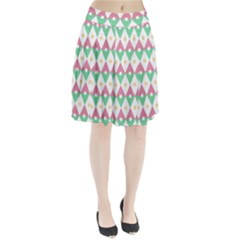 Diamond Green Circle Yellow Chevron Wave Pleated Skirt