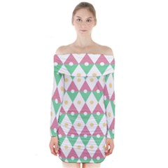 Diamond Green Circle Yellow Chevron Wave Long Sleeve Off Shoulder Dress