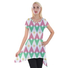 Diamond Green Circle Yellow Chevron Wave Short Sleeve Side Drop Tunic