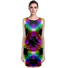 Circle Color Flower Sleeveless Velvet Midi Dress