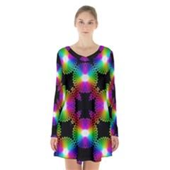 Circle Color Flower Long Sleeve Velvet V Neck Dress