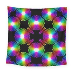 Circle Color Flower Square Tapestry (large)