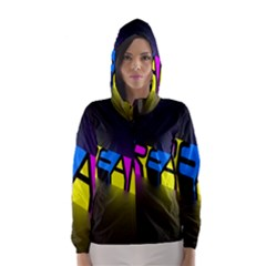 Dream Colors Neon Bright Words Letters Motivational Inspiration Text Statement Hooded Wind Breaker (women)