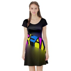 Dream Colors Neon Bright Words Letters Motivational Inspiration Text Statement Short Sleeve Skater Dress