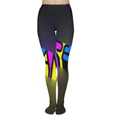 Dream Colors Neon Bright Words Letters Motivational Inspiration Text Statement Women s Tights