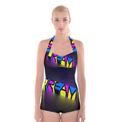 Dream Colors Neon Bright Words Letters Motivational Inspiration Text Statement Boyleg Halter Swimsuit