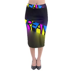 Dream Colors Neon Bright Words Letters Motivational Inspiration Text Statement Midi Pencil Skirt