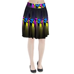 Dream Colors Neon Bright Words Letters Motivational Inspiration Text Statement Pleated Skirt