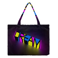 Dream Colors Neon Bright Words Letters Motivational Inspiration Text Statement Medium Tote Bag