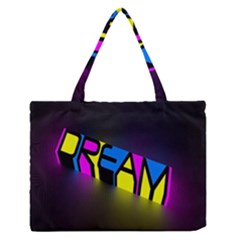Dream Colors Neon Bright Words Letters Motivational Inspiration Text Statement Medium Zipper Tote Bag