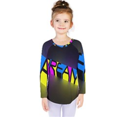 Dream Colors Neon Bright Words Letters Motivational Inspiration Text Statement Kids  Long Sleeve Tee