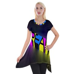 Dream Colors Neon Bright Words Letters Motivational Inspiration Text Statement Short Sleeve Side Drop Tunic