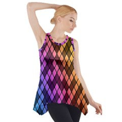 Colorful Abstract Plaid Rainbow Gold Purple Blue Side Drop Tank Tunic