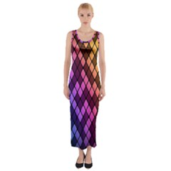 Colorful Abstract Plaid Rainbow Gold Purple Blue Fitted Maxi Dress