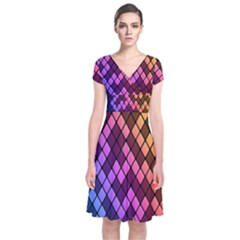 Colorful Abstract Plaid Rainbow Gold Purple Blue Short Sleeve Front Wrap Dress