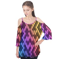 Colorful Abstract Plaid Rainbow Gold Purple Blue Flutter Tees