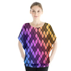 Colorful Abstract Plaid Rainbow Gold Purple Blue Blouse