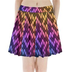 Colorful Abstract Plaid Rainbow Gold Purple Blue Pleated Mini Skirt