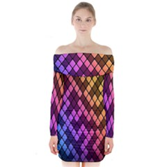 Colorful Abstract Plaid Rainbow Gold Purple Blue Long Sleeve Off Shoulder Dress